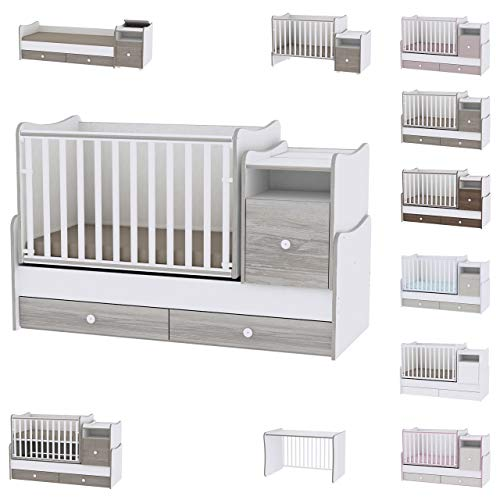 Lorelli Babybett 4 in 1 Trend Plus NEW Schaukelfunktion Jugendbett Schreibtisch, Farben:weiß grau