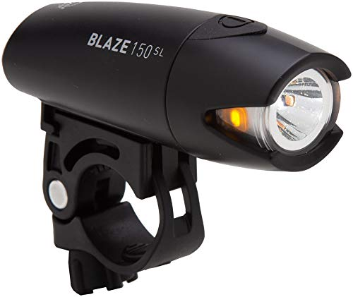 Planet Bike Blaze 150 SL Bike Light, Front White Headlight with Amber Side Light, 3 Modes, Super Bright Up to 150 Lumens, Long Life with AA Batteries, Bike Flashlight, Black and Silver