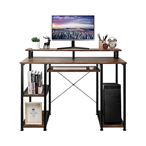 VANSPACE Computer Desk with Storage Shelves DK02, 47'' Industrial Office Desk Studying Writing Table with Keyboard Tray CPU Stand, Wood Desk with Monitor Stand for Home Office, Vintage Brown
