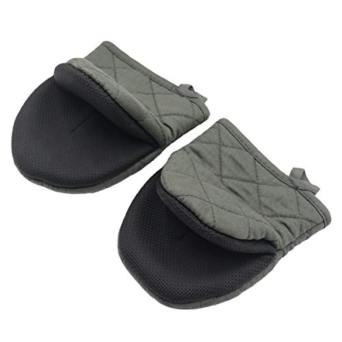 Neoprene Mini Oven Mitts, 2-Pack Heat Resistant Gloves Potholder to Protect Hands with Non-Slip Grip Surfaces and Hanging Loop for Handling Hot Pot Cookware/Bakeware (Greyish-Green, Mini)