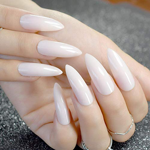 TJJF 24 Pcs Long Stiletto Ongles Naturel Blanc Pointu Faux Ongles Acrylique Ongles Diy Nail Art Pleine Couverture Manucure Produit