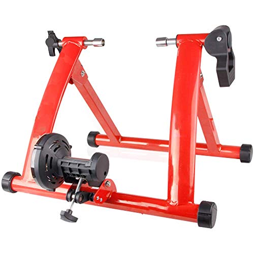 miwaimao Magnetischer Turbo-Trainer, faltbarer Indoor-Fahrrad-Trainer-Ständer mit variabler Geschwindigkeit, drahtgesteuerter Turbo-Trainer, kann drinnen und draußen verwendet werden, roter Trainer