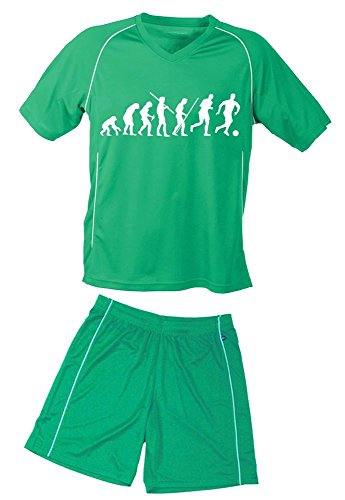 Coole-Fun-T-Shirts TRIKOTSET mit DEINEM Namen + Nummer ! Fussball Evolution Kinder Trikot + Hose Green-Green, Kids 110-116 cm