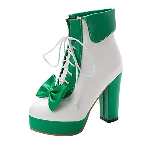MISSUIT Damen Schnürstiefeletten High Heels Plateau Ankle Boots mit Schnürung und Blockabsatz Schleife Rockabilly Lolita Cosplay Schuhe(Grün,43)