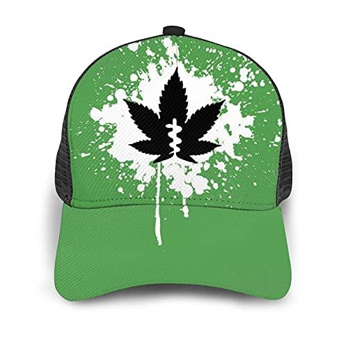 Marijuana Leaf Weed Mesh Caps, Green Ink Splash Hat for Men and Women, Lightweight Baseball Trucker Cap, Summer Dancing Hats Snapback