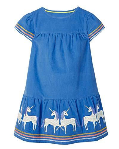 Mädchen Kleider Baumwolle Kurzarm Stickerei Casual Sommer T-Shirt Kleid Gr.85-130 (7Jahre/130cm, Blau Einhorn)