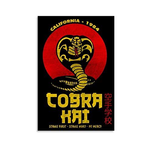 Cobra Kai 10 Vintage-Poster, gerahmt, Ölgemälde, gedruckt auf Leinwand, für Heimdekorationen, zum Aufhängen für Wohnzimmer, Schlafzimmer, 60 x 90 cm
