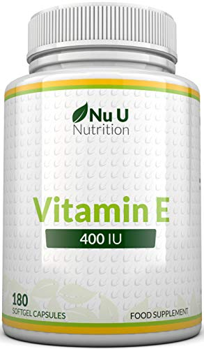 Vitamin E 400 IU, 180 Softgels 6 Month Supply, Vitamin E Capsules, Natural Source Vitamin E, D-Alpha Tocopherol, High Potency and Absorption, Made in The UK