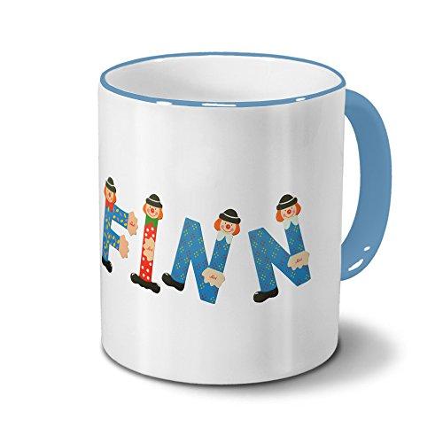 printplanet Tasse mit Namen Finn - Motiv Holzbuchstaben - Namenstasse, Kaffeebecher, Mug, Becher, Kaffeetasse - Farbe Hellblau
