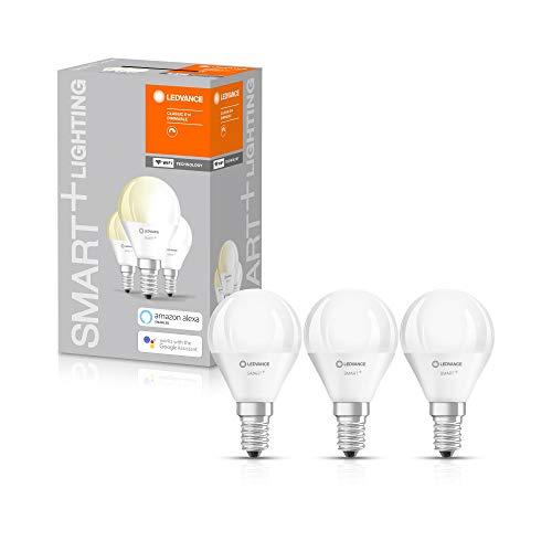 LEDVANCE Smarte LED-Lampe mit WiFi Technologie, Sockel E14, Dimmbar, Warmweiß (2700 K), ersetzt Glühlampen mit 40 W, SMART+ WiFi Mini Bulb Dimmable, 3er-Pack