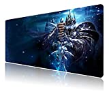 Mouse Pad XXL Lich King,Extra Large Gaming Mousepad Laptop Desk Pad Mat,Non-Slip Rubber Base,Stitched Edges,Smooth Fabric,Computer Keyboard & Mice Combo Pads 35.4x15.7