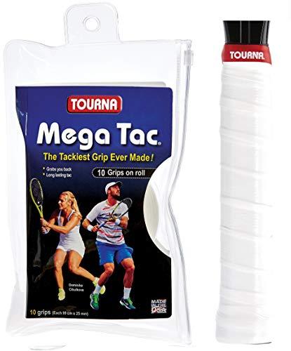 Unique Tennis Griffbänder Mega TAC Weiß 10er Bandas de Agarre para Tenis, Unisex-Adultos, Blanco, Talla única