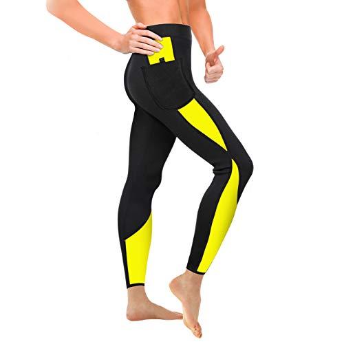 WABISABI DREAMS Pantalon Sauna 100% Neopreno, Leggins Reductores Adelgazantes Anticeluliticos Cintura Alta, Mallas Fitness Push Up consigue una Sudoración efectiva en Fitness Negro Banda Amarilla (L)