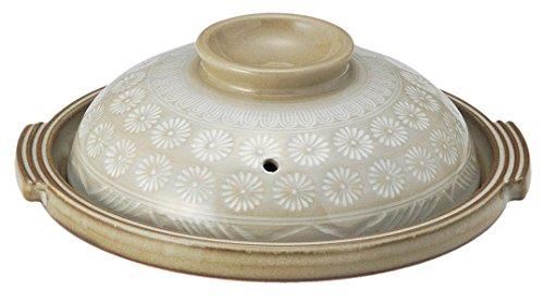 銀峯陶器 萬古焼 グリルパン グレー 6号 陶板 フタ付 19cm 花三島 22061