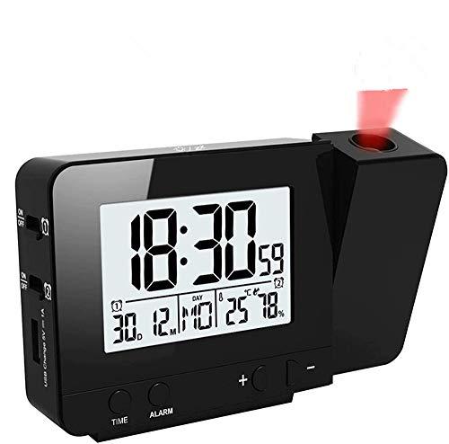 HJRUIUA LED Sveglia con Proiettore Display Orologio con retroilluminazione Snooze con Retroilluminazione Alimentato Ora Temperatura umidità Data da Letto Decorazione Camera Nero