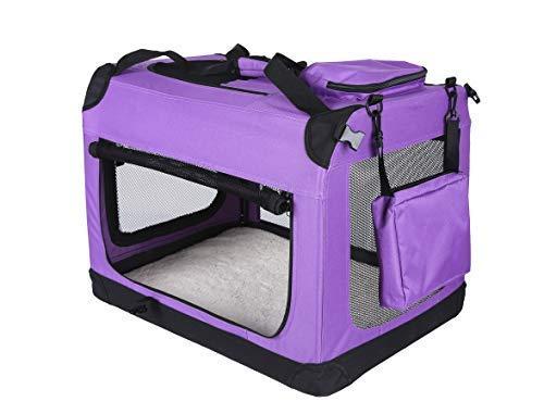 Rapid Teck® Hundebox faltbar Hundetransportbox Auto Transportbox Reisebox Katzenbox Autobox Box mit Hundedecke Gr. L violett