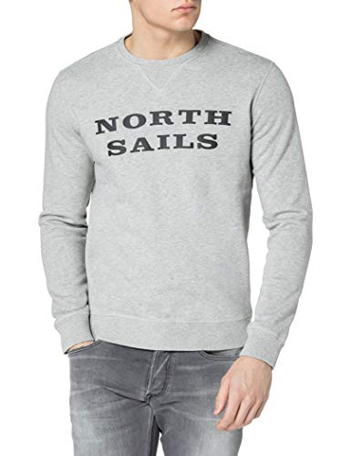NORTH SAILS Round Neck W/Graphic Pullover, Grey Melange, X-Large Uomo