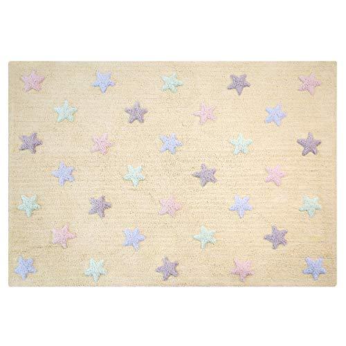 Lorena Canals Tricolor Estrellas Lavable Alfombra, algodón, Vainilla, 120x 160x 30cm