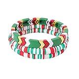 ZSMJYJ Charm Bracelet Stackable Rainbow Tile Enamel Beads Love Bracelets Sets Friendship Jewelry Bangle for Women Coworker Christmas Gifts