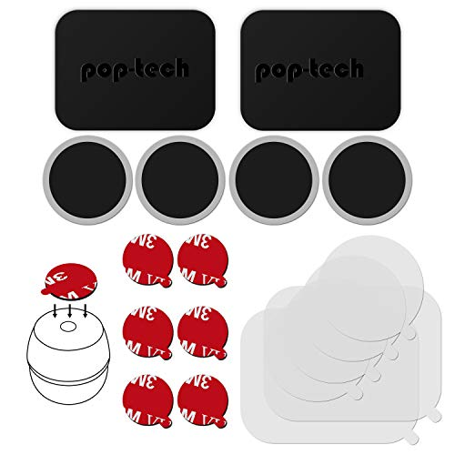 pop-tech 3M Adhesive Sticker Tapes Accessories Pack Replacement Kit for Magnetic Phone Car Mount and Pop Grip Mount Base, Includes Rectangle Metal Plate and Round Magic Plate, Clear Protective Films