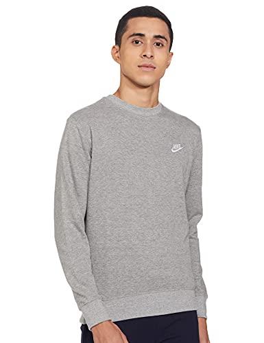 Nike Men's Cotton Round Neck Sweatshirt (Dark Grey, Large)