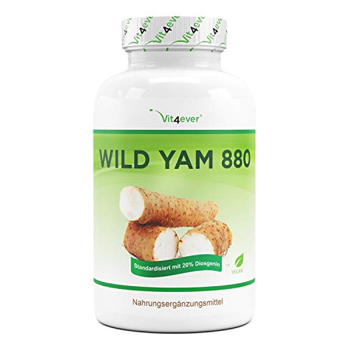 Extracto de raíz de ñame silvestre - 240 cápsulas (suministro para 4 meses) - Altamente dosificado con 880 mg de extracto (incluyendo 176mg de diosgenina) por dosis diaria - Vegano