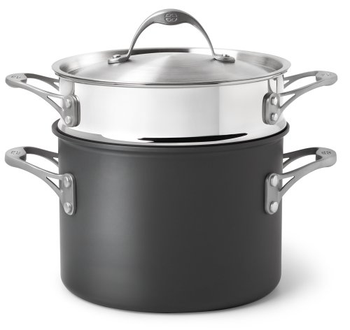 Calphalon One Infused Anodized 6-1/2-Quart Stockpot with Stainless Pasta Insert and Lid