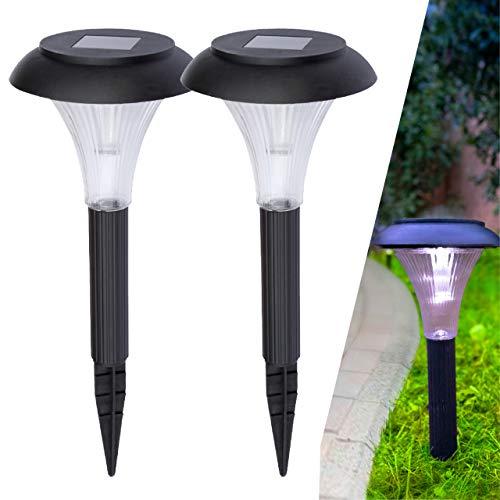 proventa® Solar LED Gartenleuchte, 2 Stück, Schirm, Höhe 21 cm, mit Erdspieß, Dämmerungssensor, warmweiß, inkl. Wechselakku