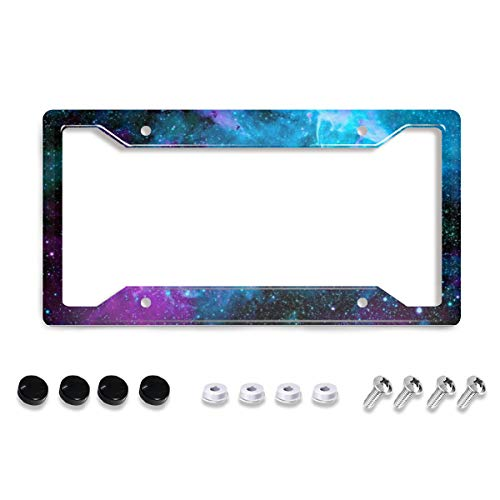 """Personalized License Plate Frame Metal Aluminum Beautiful Galaxy Space License Plate Cover Car Tag Holder with 4 Holes and Screws For Women Men Auto Decoration For USA Canada Vehicles Standard(12""""x6"""")"""