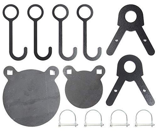 FULLBOW AR500 Gong Targets and Steel Target Hangers Combo Pack - DIY Target Kit for 1 Inch OD EMT Conduit - 4 and 6 Inches AR500 Steel Targets for Each, 4 Target Hang Hooks and 2 Leg Brackets