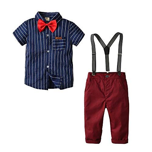 YWLINK Verano Al Aire Libre Ni/ñO Y Ni/ñA 6 Meses A 3 A/ñOs Azul Gentleman Camisa De Sin Mangas Bowtie Pantalones Cortos A Cuadros Traje De Bautizo Fiesta Boda Ceremonia Rendimiento Regalo