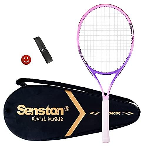 Senston Junior 19/23 Racchetta da Tennis in Alluminio Racchetta da Tennis per Bambini/Junior con Borsa + Un Grip + Un antivibrante (Colore Casuale) (23 inch, Rosa)