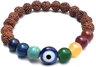 The Bling Stores Balancing 7 Chakra With Evil Eye And Rudraksha Beads Elastic Bracelet For Men Women & Kids