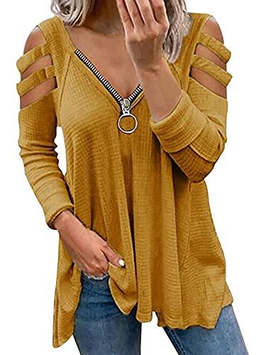 Blusa de manga larga para mujer con hombros fríos, con cremallera y cuello en V, plisada, amarillo, M