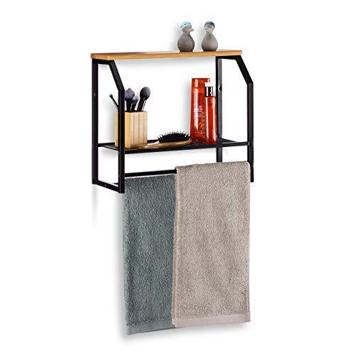 Relaxdays, schwarz Wandregal mit Handtuchhalter, Regal aus Eisen mit Zwei Ablagen, für Küche oder Bad, HxBxT: 41x45x23cm