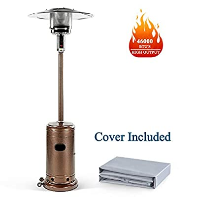 Patio Heater, Outdoor Heater 46000 BTU Commercial Propane Heater - 88 Inches Tall Standing Patio Heater with Cover, Hammered Bronze