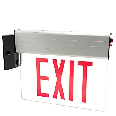 eTopLighting Edge Lit LED Exit Sign Light Panel, Red Lettering, Mount on Wall and Ceiling, AGG2715