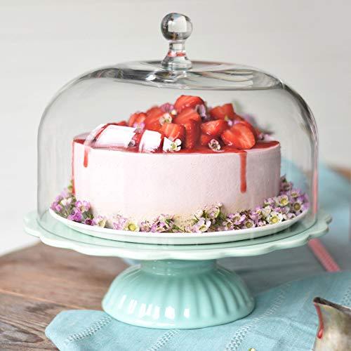 """Romántico: Ib Laursen plato para tartas """"Mynte"""" en verde menta con campana, Ø 29 cm"""