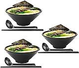 ZHFF Advanced Soup Bowls 3 Juegos de tazones de Ramen japoneses Grandes, Viene con Cuchara y Palillos, melamina de Calidad de Restaurante, para Fideos, Pho, Fideos, Udon, tailandeses, vajilla China