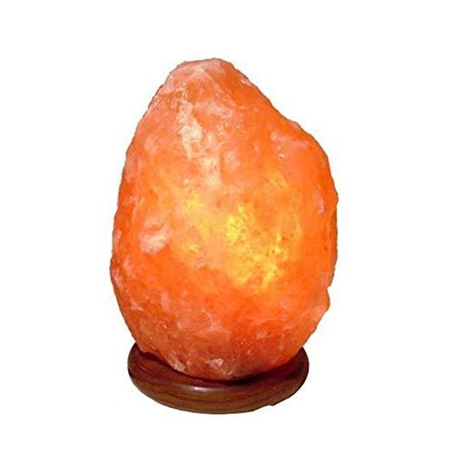Lampe en Cristal de Sel de l'Himalaya (1-2 kg) Entièrement naturelle et fabriquée à la main avec base en bois