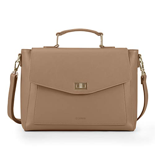 ECOSUSI Briefcase Shoulder Bag Messenger Bag Tote Cross-body Bag Top Handle Bag Convertible Backpack for Women Ladies Girls Rucksack Satchel 16 inches Laptop Bag Handbag PU Leather