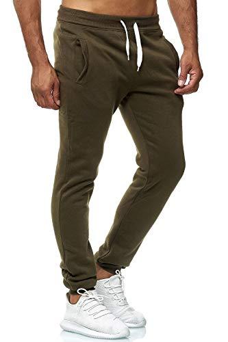 EGOMAXX Herren Jogging Hose Fit & Home Sweat Pants leichte Sporthose Vers.1, Farben:Dunkelgrün, Größe Hosen:M