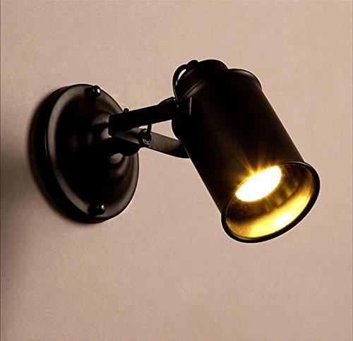 Applique murale rotative E27 - Noir - Hauteur réglable - Pour salon, chambre, véranda - 17 x Ø 8,5 cm - 5 W