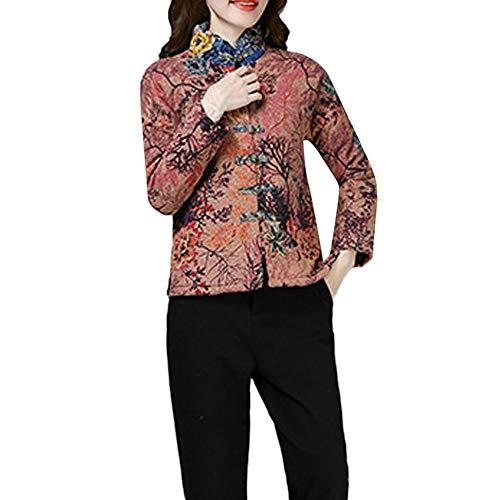 FRAUIT korte jas dames vrouwen meisjes warm katoen linnen print parka trenchcoat toetsen smalle pasvorm kleding blouse tops outwear M-3XL