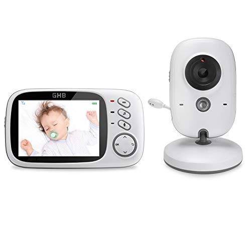 GHB Baby Monitor, Videocamera Schermo 3,2'' VOX Visione Notturna Monitoraggio Temperatura 8 Ninnenanne Citofono Bidirezionale, Attivazione Vocale, 750mAh Batteria Ricaricabile Babyphone per Bambini