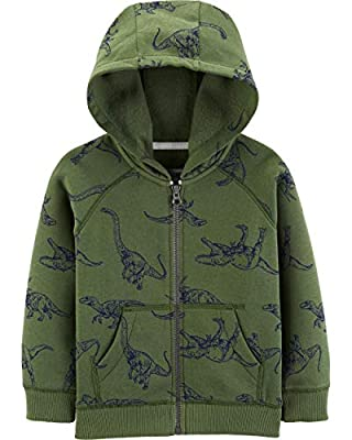 Carter's Boys' Classic Fleece Zip-Up Hoodie with Pockets (3 Months, Olive Dinosaurs)