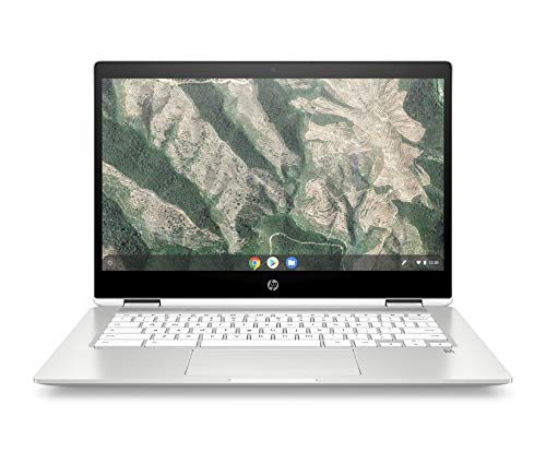 HP Chromebook x360 14b-ca0010nf Ordinateur Ultraportable Convertible et Tactile 14'' HD Blanc (Intel Pentium Silver, RAM 4 Go, eMMC 64 Go, AZERTY, Chrome OS)