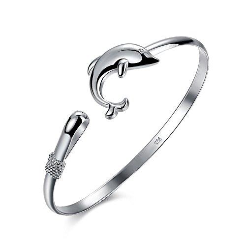 Joyería de las mujeres chapado en plata pila brazalete brazalete delfín brazalete alto pulido cadena ajustable