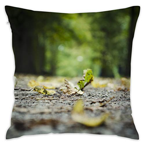 Jiger Throw Pillow Cushion Cover, oppervlakte Leaves On Tree Trunk, Decoratieve Square Accent Pillow Case, 18X 18 inch