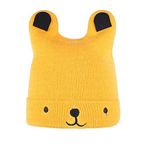 jingshou396 Sombrero de Punto para bebé Sombrero de Dibujos Animados de Oso cálido de Invierno Sombrero de Oso de Punto Suave Gorro de bebé